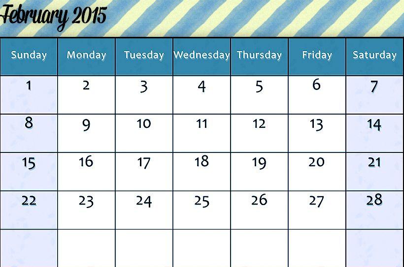 Download 2015 February Calendar Printable Templates Designs Blank