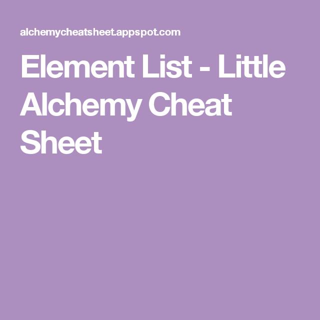 cheat sheet for little alchemy
