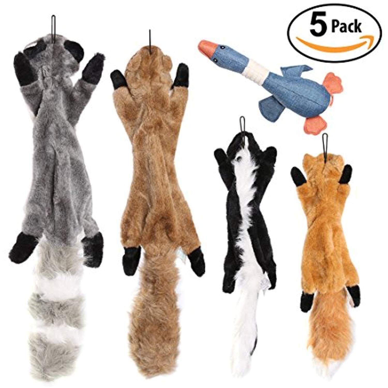 Ohmygodd Plush Animal Dog Toy Set Value Pack 5 Squirrel Squeaky