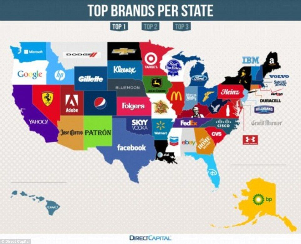 Map Reveals The MostGoogled Brands In Every State - A map of each sate of us