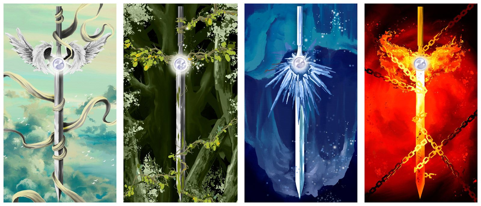 Swords - Air, Earth, Water, Fire by *Fackeate on ...