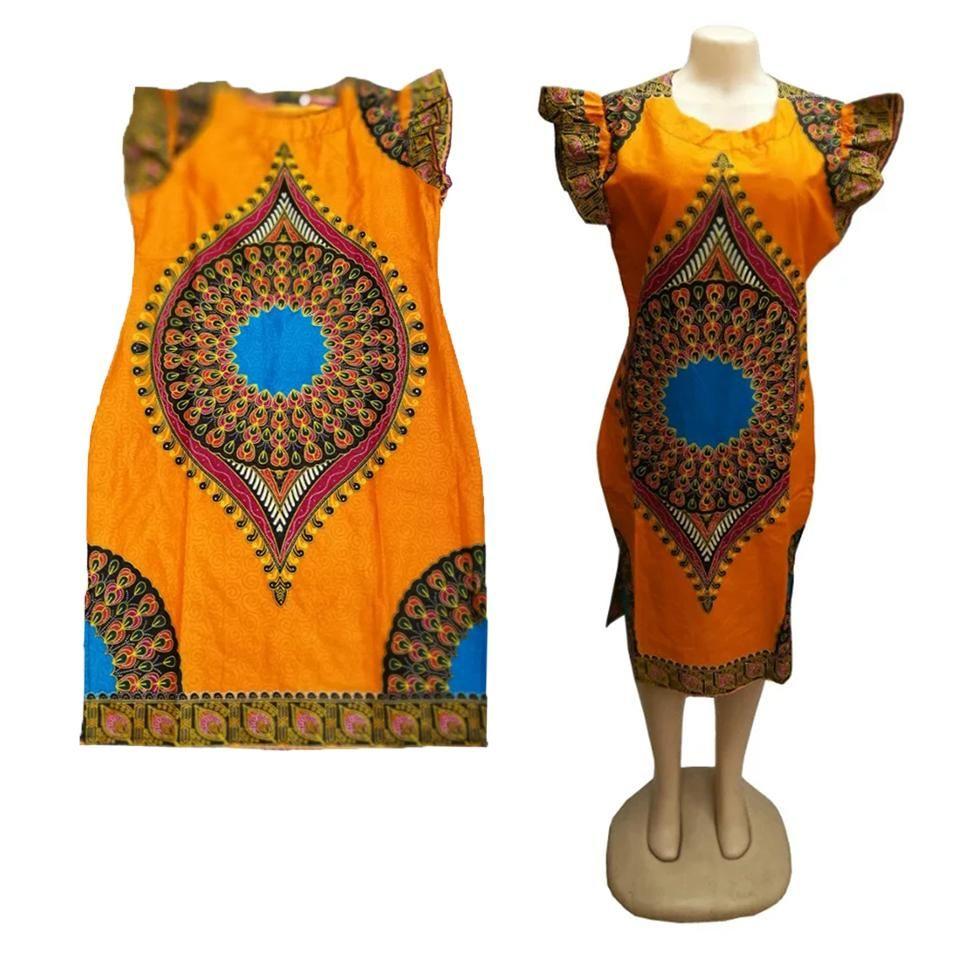 AFRICAN Shirt DASHIKI PRINT Women Tribal ETHNIC Caftan Hippie Orange LBL11-1…