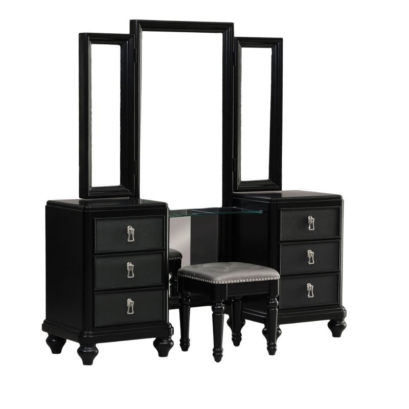 Diva Midnight Black Vanity Bench Rc Willey Home Furnishings Vanity Dresser With Mirror Morris Homes