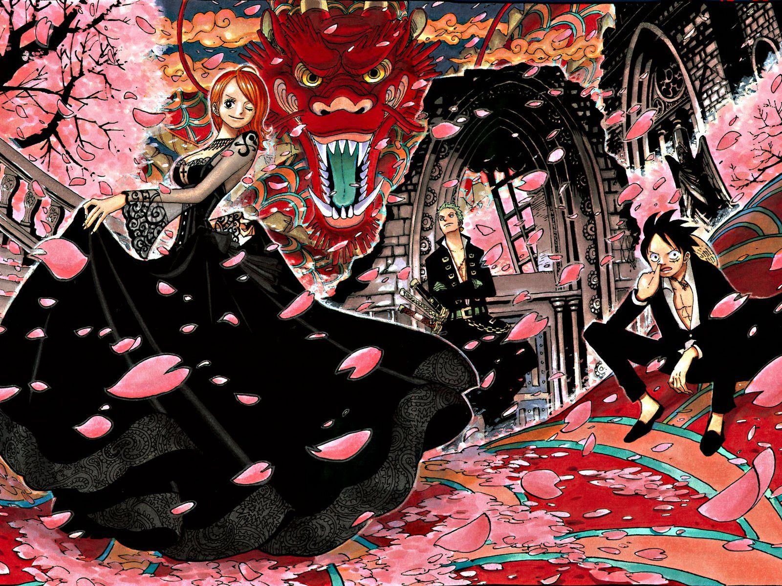 Hd wallpaper one piece zoro - One Piece Nami Zoro Luffy Straw Hat Pirate Cherry Blossom Dragon Anime