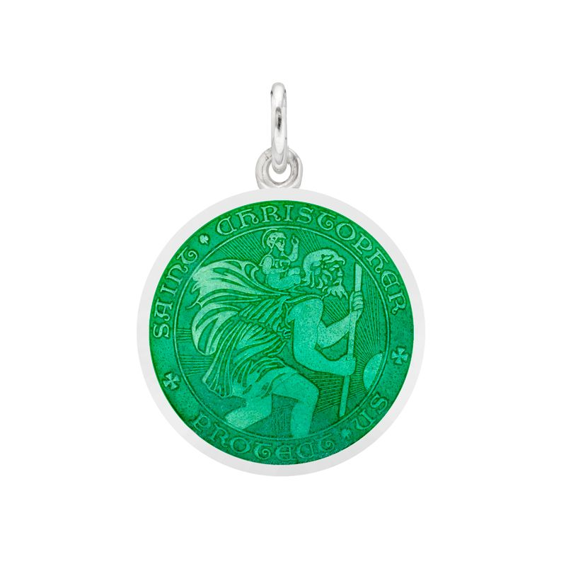 6a92bdc4eb9 Betteridge Small Silver St. Christopher Medal with Forest Green Enamel