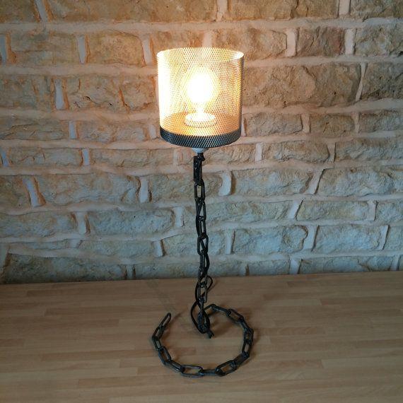 Welded Metal Chain Link Desk Table Floor Light By