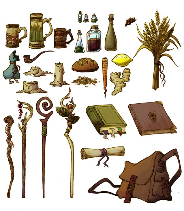 D and D Props by grumble-bee mug pipe sack bag candle carrot bread lemon wheat staff potion of healing poison bottle flask book tomb journal scroll spellbook equipment gear magic item | Create your own roleplaying game material w/ RPG Bard: www.rpgbard.com | Writing inspiration for Dungeons and Dragons DND D&D Pathfinder PFRPG Warhammer 40k Star Wars Shadowrun Call of Cthulhu Lord of the Rings LoTR + d20 fantasy science fiction scifi horror design | Not Trusty Sword art: click artwork for…