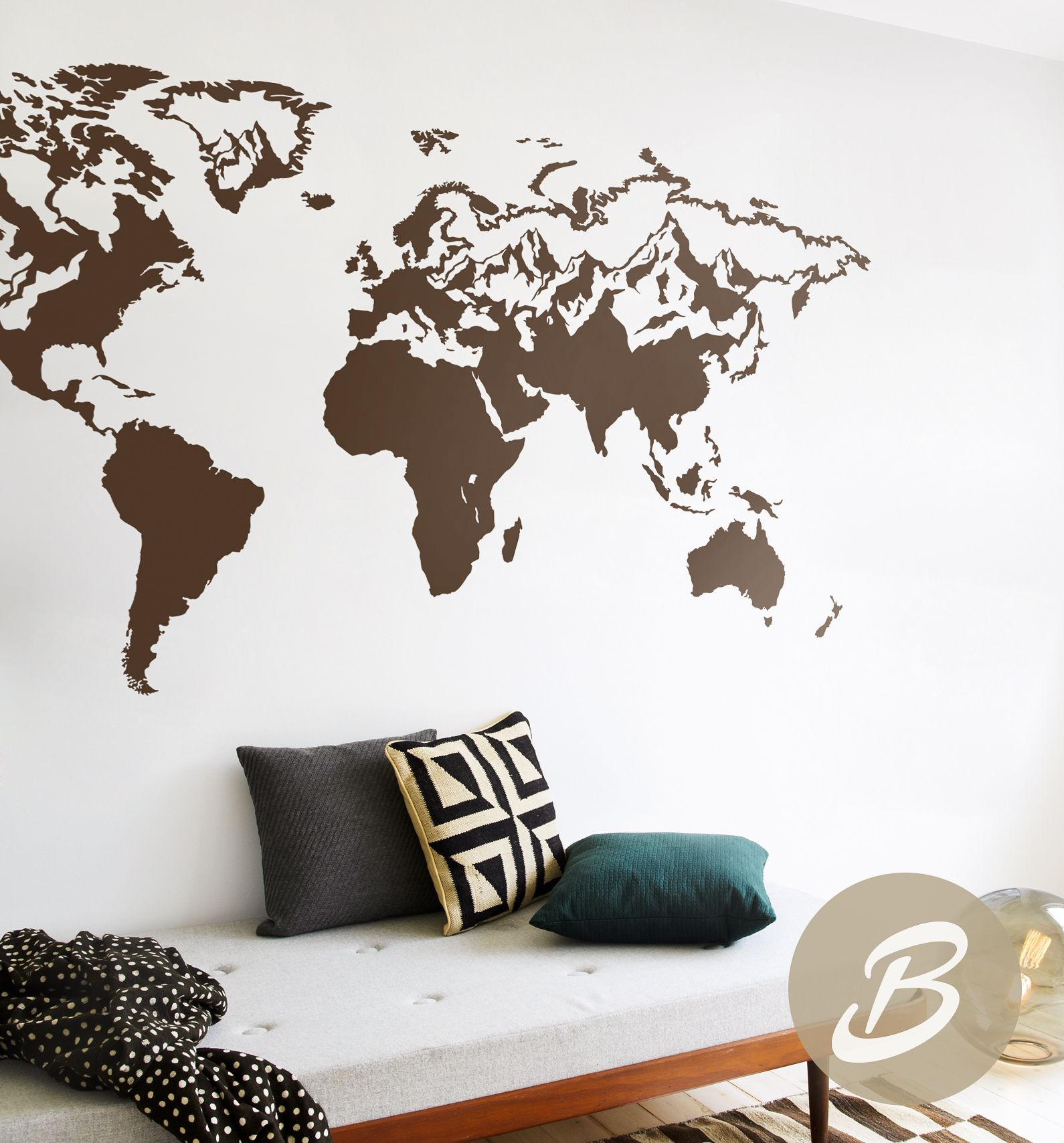 Map Of The World Decal Wall Map Decal World Map Sticker World Map Wall  Decal Vinyl Map Decal Big Map Decal Wall Map Sticker AK002