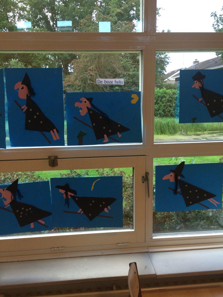 Window decoration for kindergarten  heks knutselen op t platte vlak hoofd scheuren  heksen