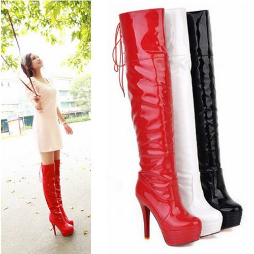 Free shipping 2013 Winter over-the-knee platform boots lace up patent  leather riding