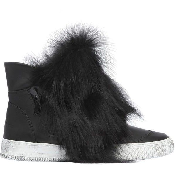 BLACK DIONISO 20MM FOX FUR & LEATHER HIGH TOP SNEAKERS 100% Guaranteed Cheap Online Outlet Best Seller Fashion Style Clearance Inexpensive Clearance How Much SRcpFNkk