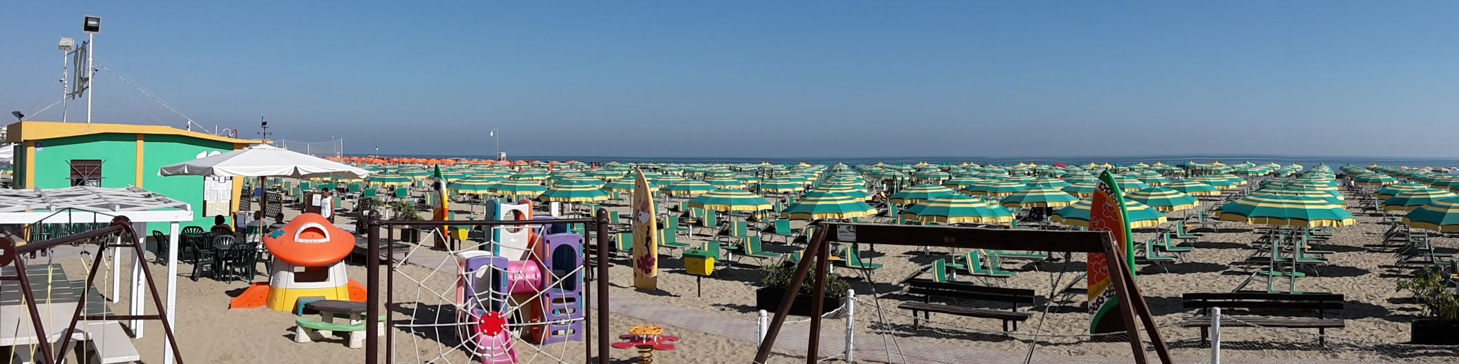 Panoramic View Of The Well Organized Beach In Emilia Romagna With