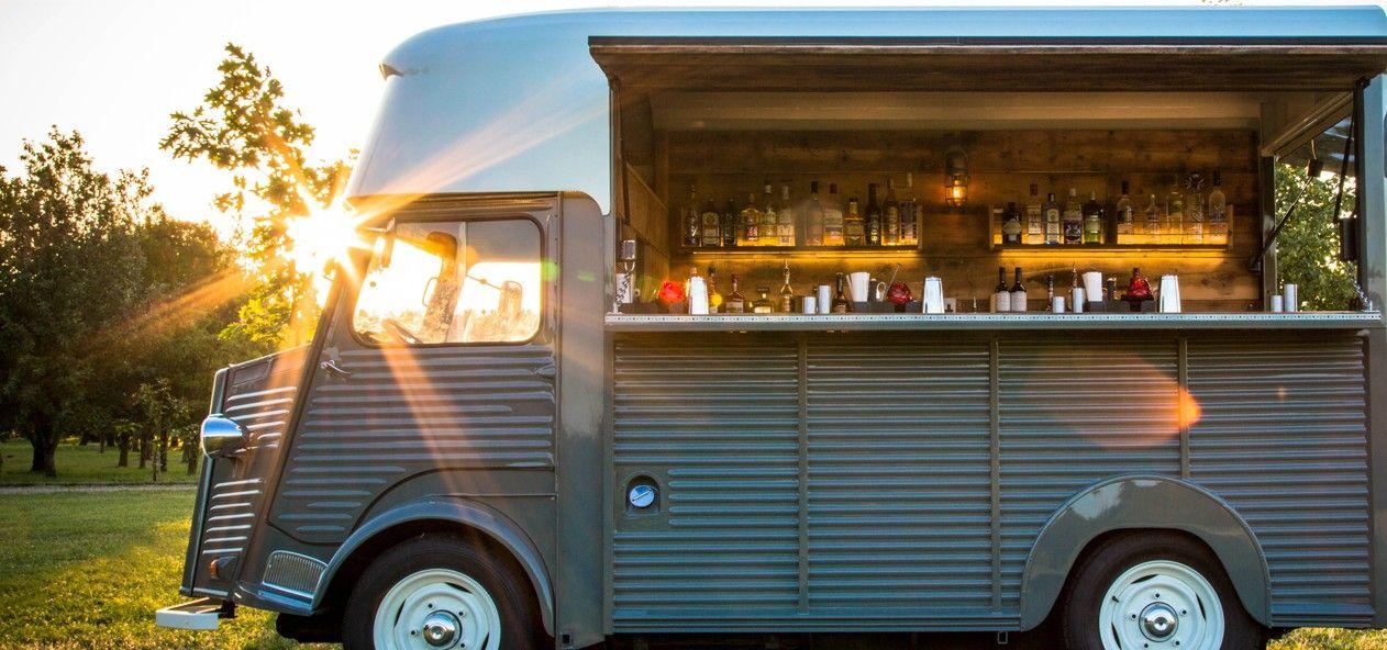 Mobile bar hire vintage cocktail van pop up event for Food truck bar