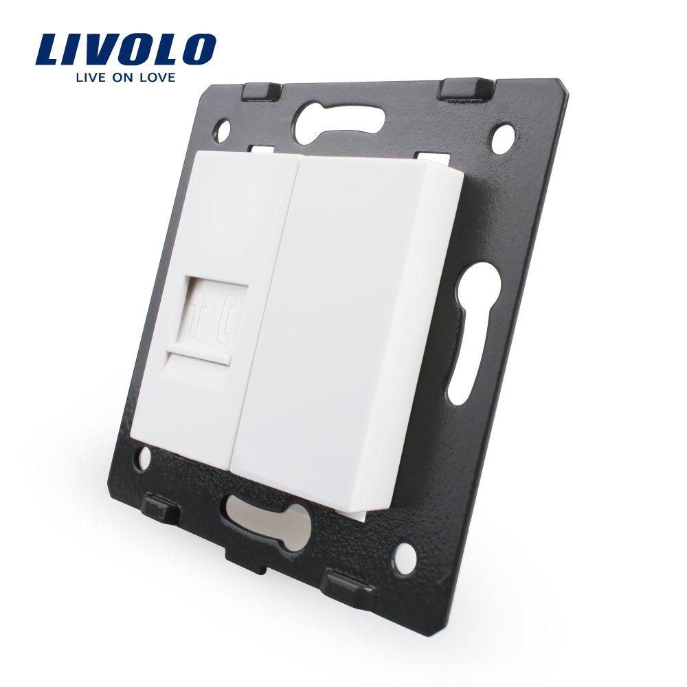 무료 배송, Livolo 흰색 플라스틱 재료, EU 표준, 기능 키 전화 소켓, VL-C7-1T-11