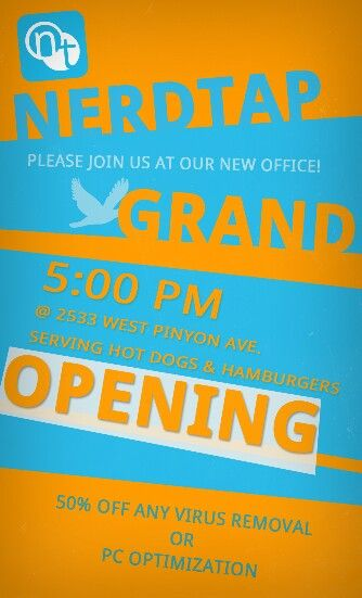 Grand Opening Flyer  Nerdtap    Grand Opening