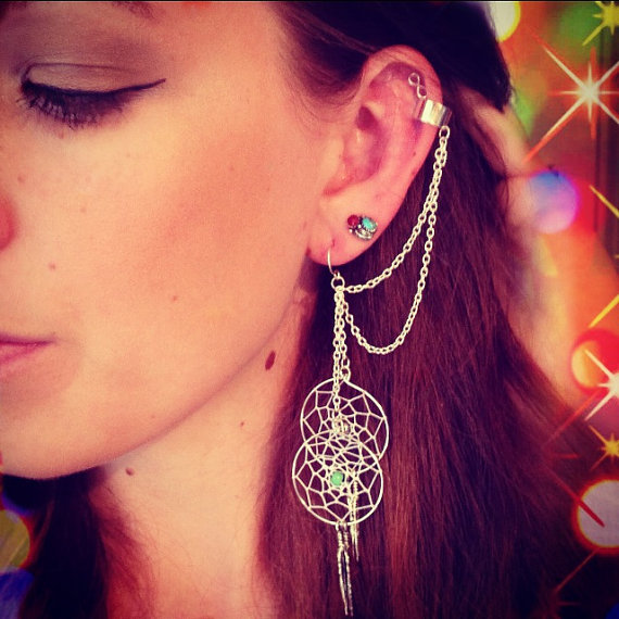 Dream Catcher Ear Cuff Handmade Silver Ear Cuff Dream Catcher Ear Cuff Feather Ear Cuff 22