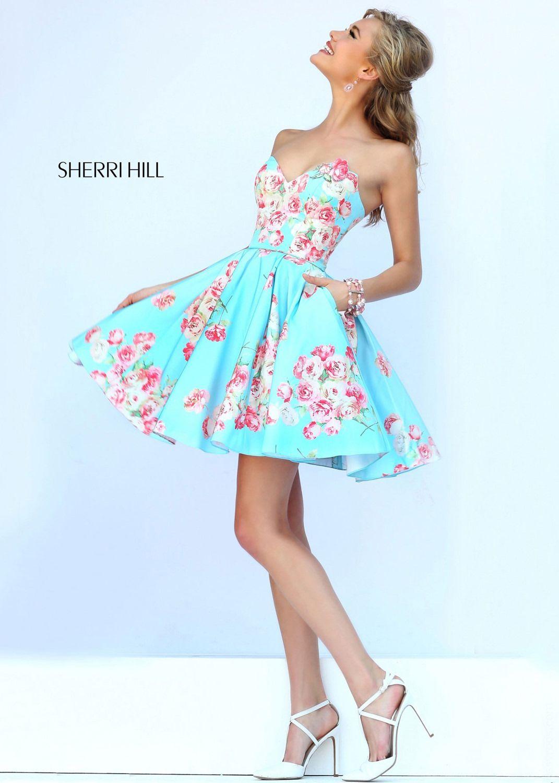 Sherri Hill Light Blue Strapless Floral Print Short Party Dress - Sherri Hill 32246 - 2015 Prom Dresses at RissyRoos.com