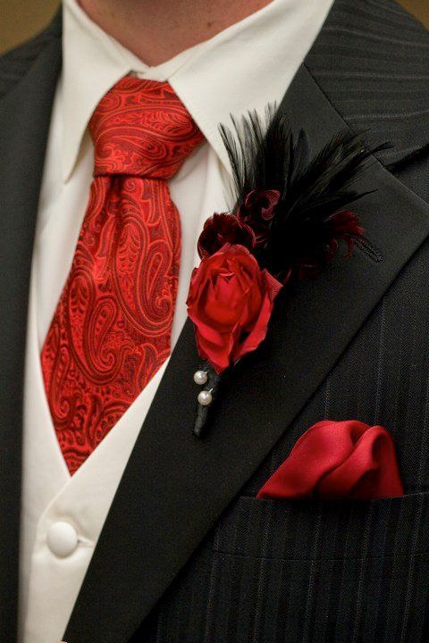 Red Rose & Black Feather Boutonniere