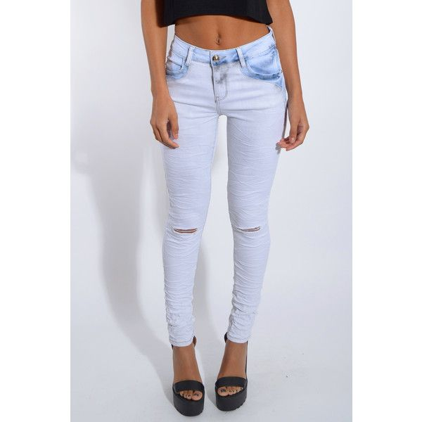 Rare London Blue Stonewash Skinny Jeans ($23) ❤ liked on Polyvore