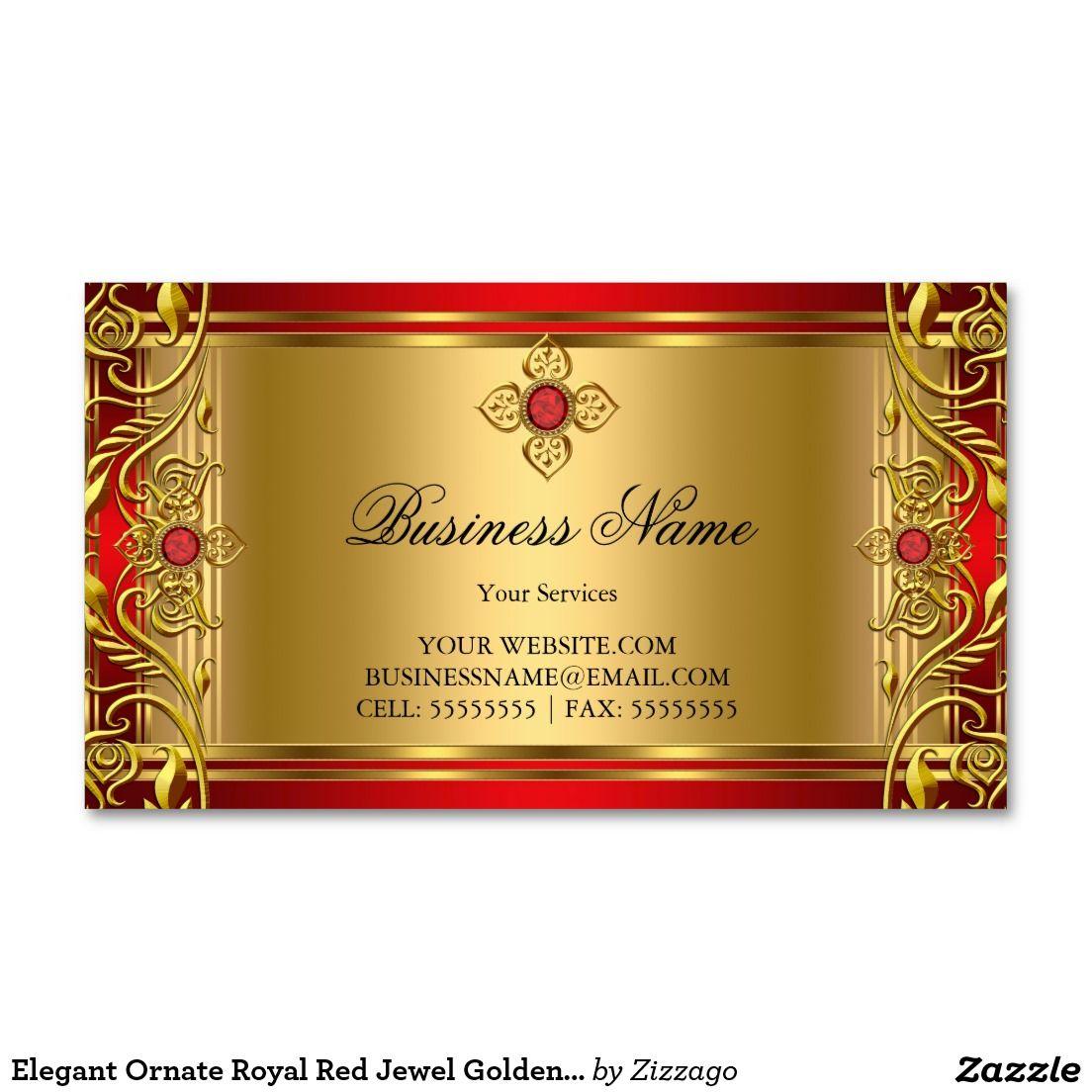 Elegant Ornate Royal Red Jewel Golden Gold Business Card Royal Red