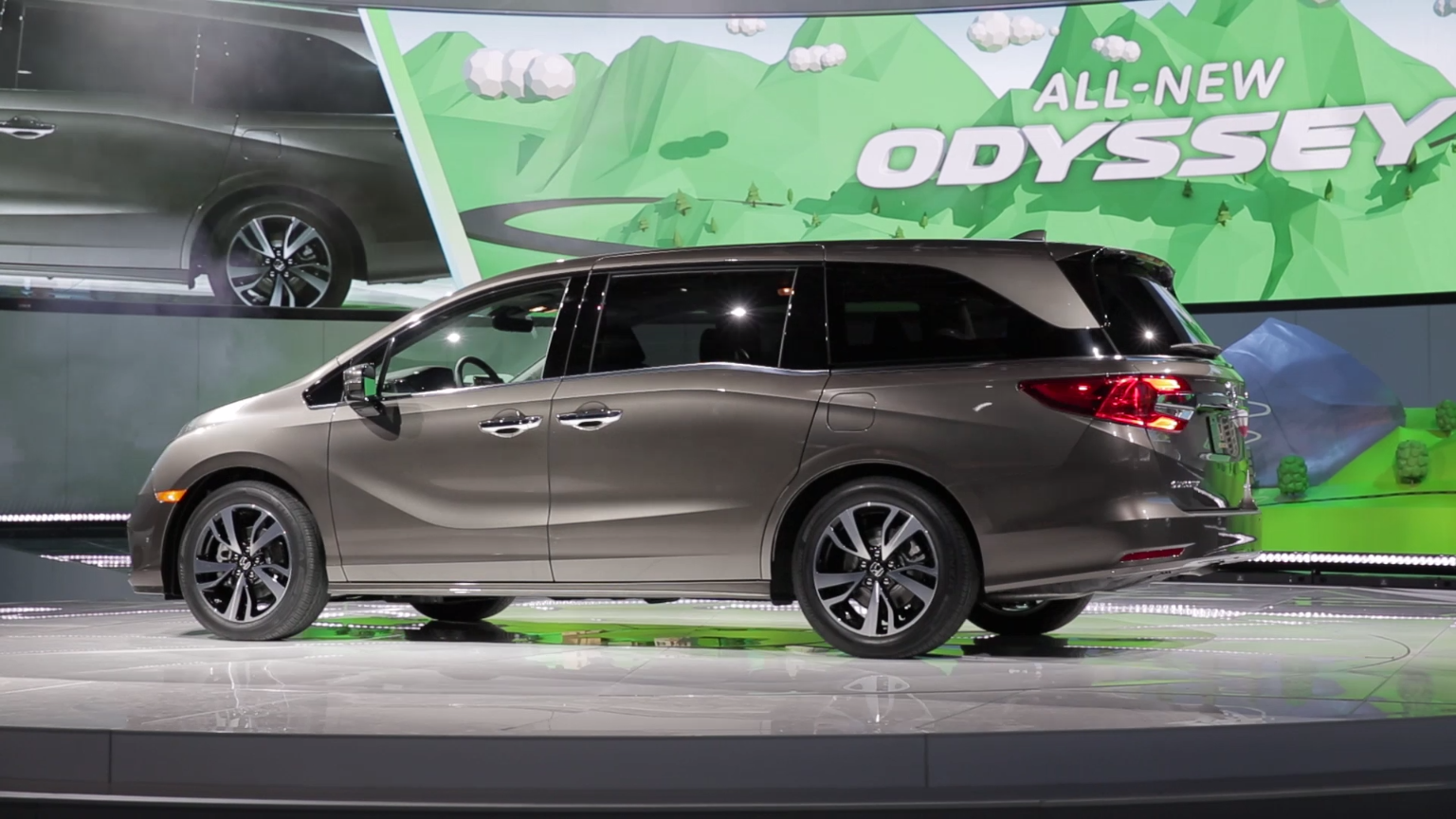 The 2018 honda odyssey was revealed at the north american international auto show this vehicle