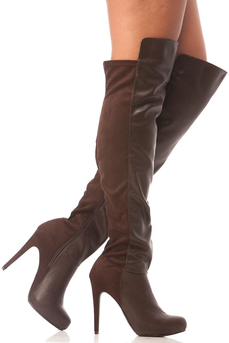 Brown Faux Leather Thigh High Platform Boots @ Cicihot Boots ...