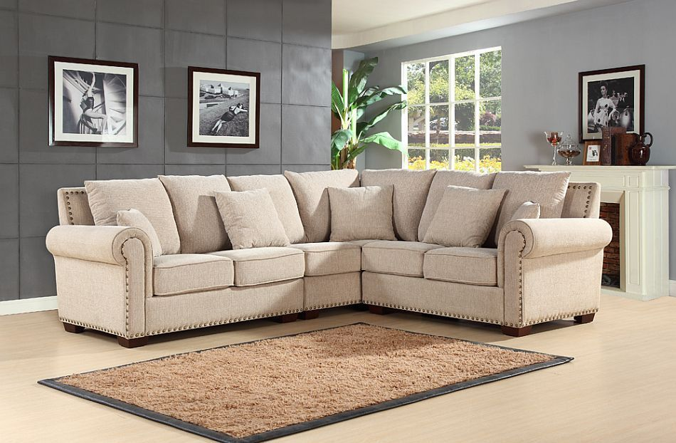 Fantastic Abbyson Living Kendall Cream Fabric Sectional Sofa Playing Short Links Chair Design For Home Short Linksinfo