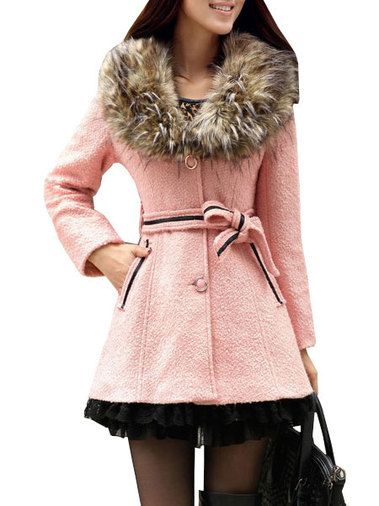 Charming Detachable Fur Collar Single-Row Buttons Slim Fairy Ladies Outer Coat on buytrends.com