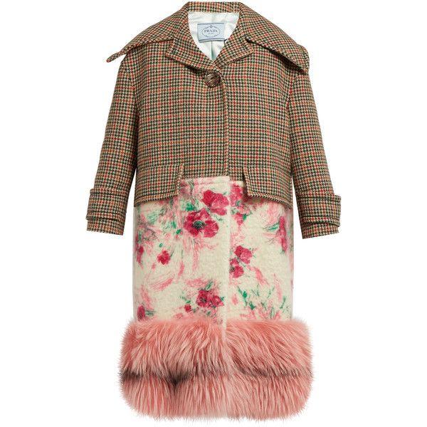 Prada Fur-hem contrast-panel coat (7,390 SGD) ❤ liked on Polyvore featuring outerwear, coats, multi, prada coat, prada, red coat, fur coat and red fur coat