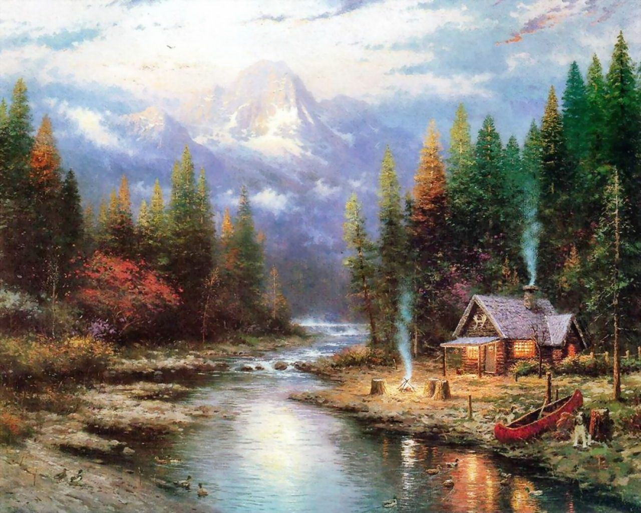 Log cabin in the woods painting -  Cabin In The Woods By Thomas Kinkade