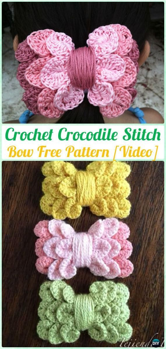 Crochet Crocodile Stitch Bow Free Pattern [Video]-What a sweet idea ...