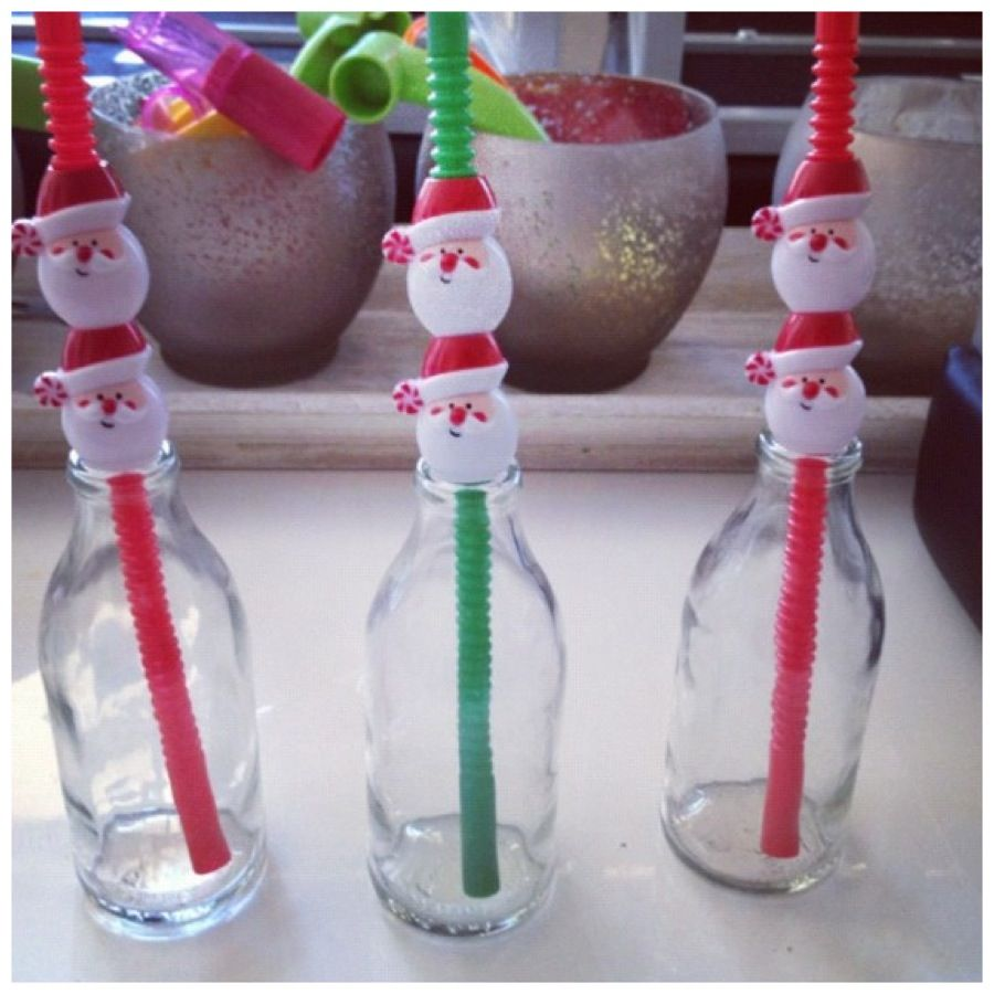 Glass bottles and Santa straws we leave out for Santa and his reindeers full of milk xxx