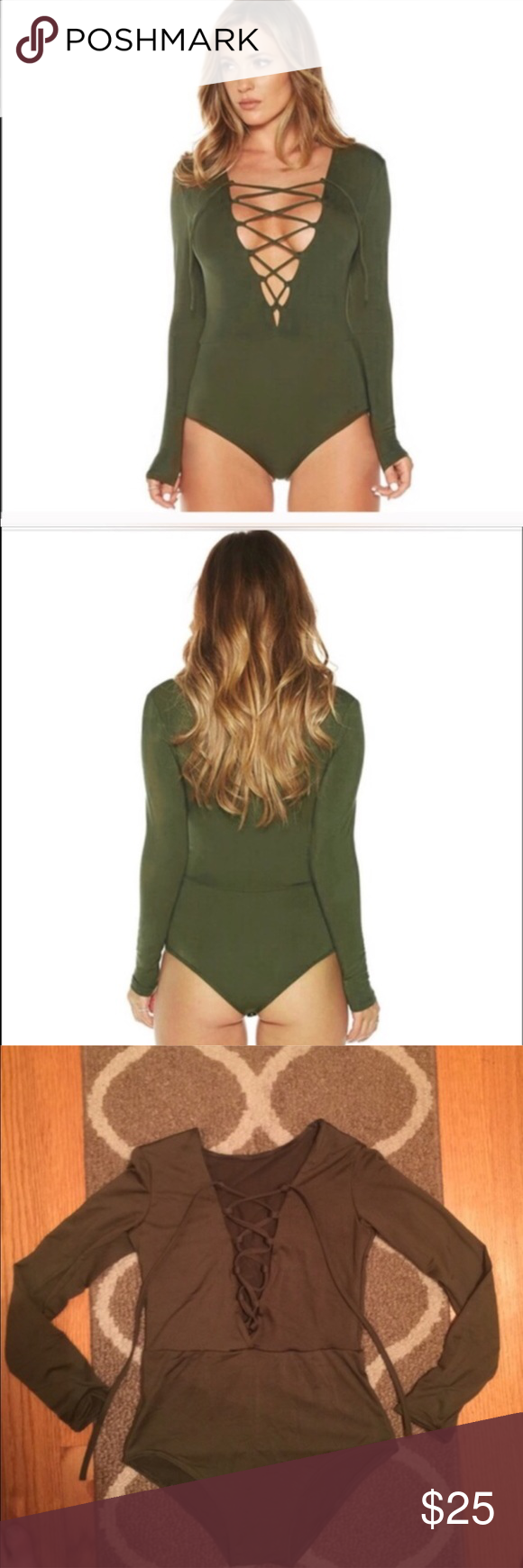 Lace me up bodysuit Brand new army green color bodysuit size S. Material is stretchy and shiny and seems like a mix of spandex as well as other fabrics. No trades. BRAND FOR EXPOSURE Nasty Gal Tops Blouses