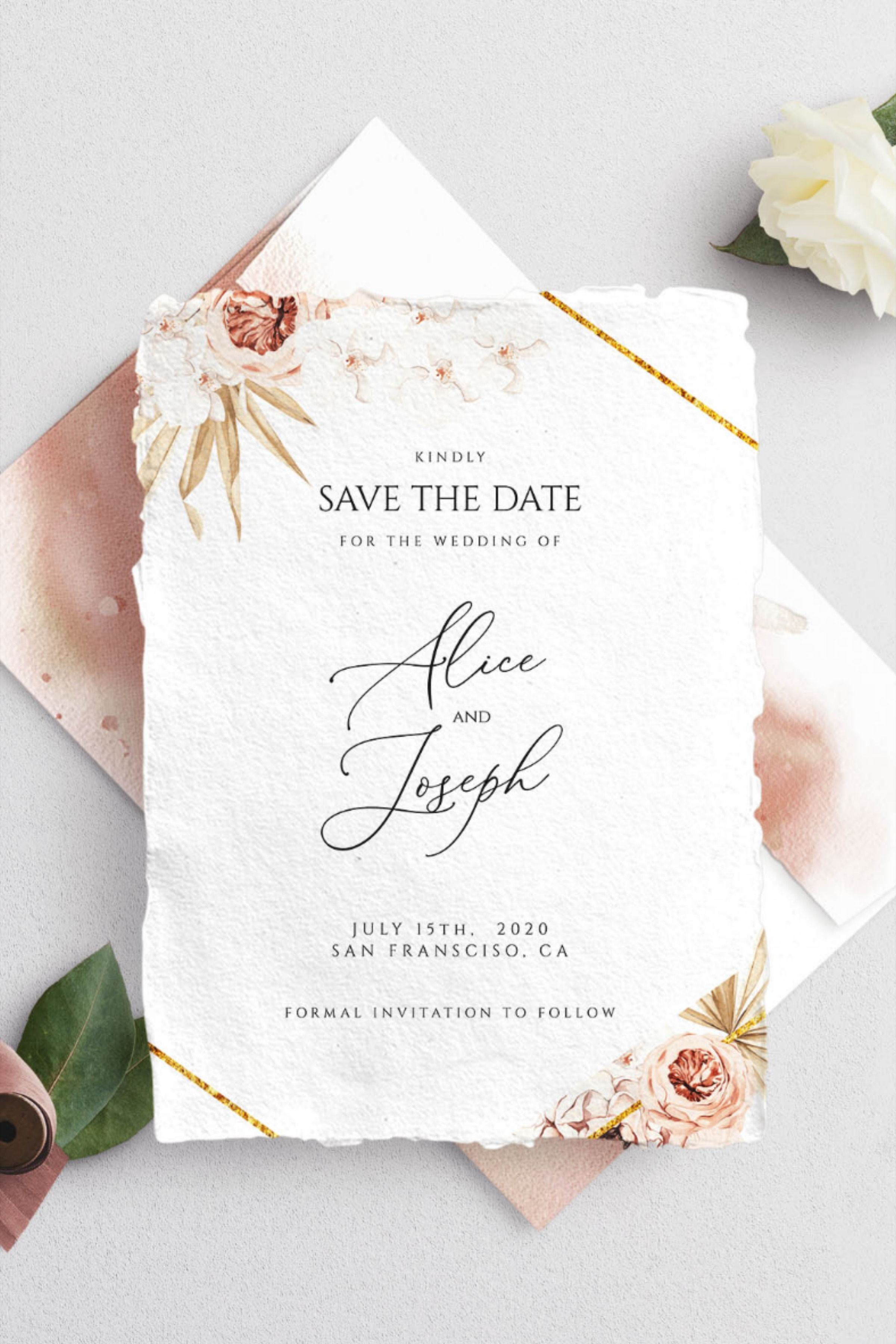 Boho desert save the date template pampas grass save the