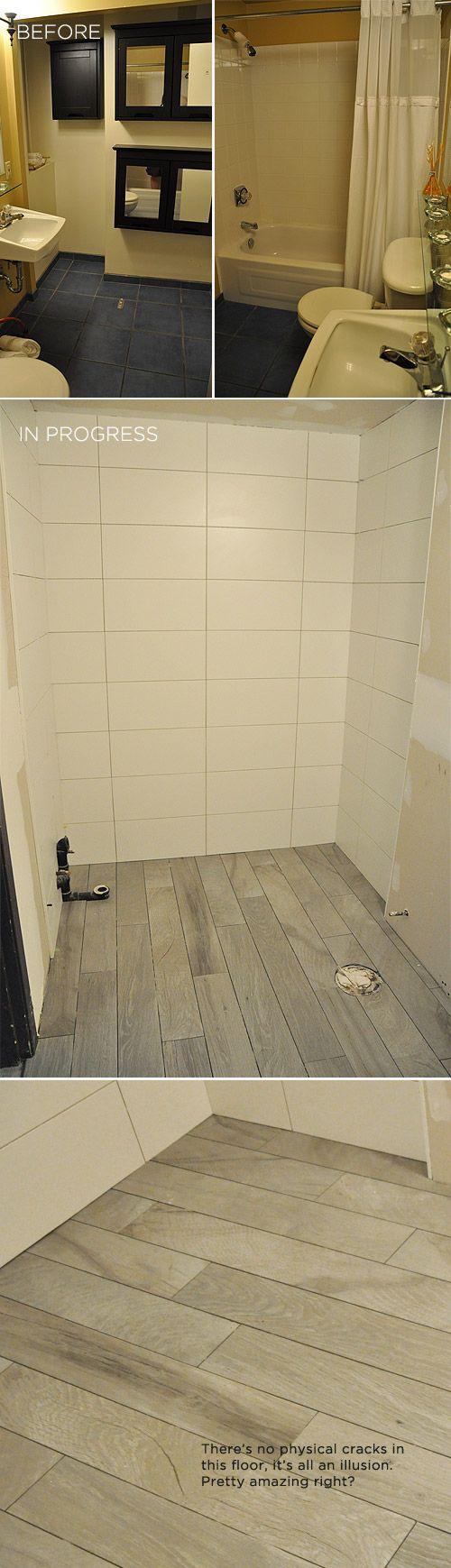 Downstairs Bathroom Sneak Peek | White tiles, Tile flooring and Plank