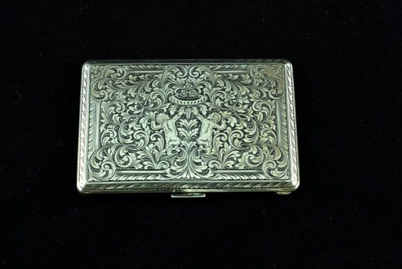 Antique Hand Chased Silver Cigarette Case Business Card Holder