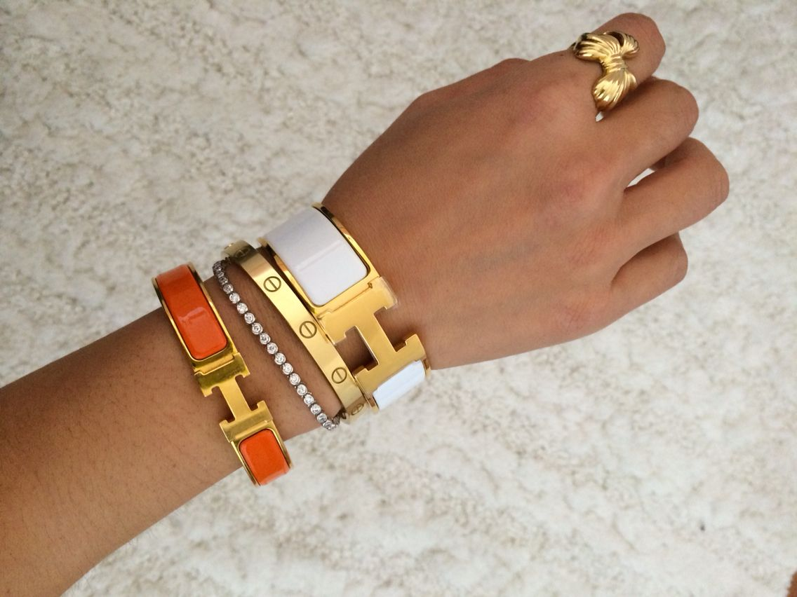 Pretty Hy With My Collection Bracelets Layering Cartier Love Bracelet Hermes H Gold