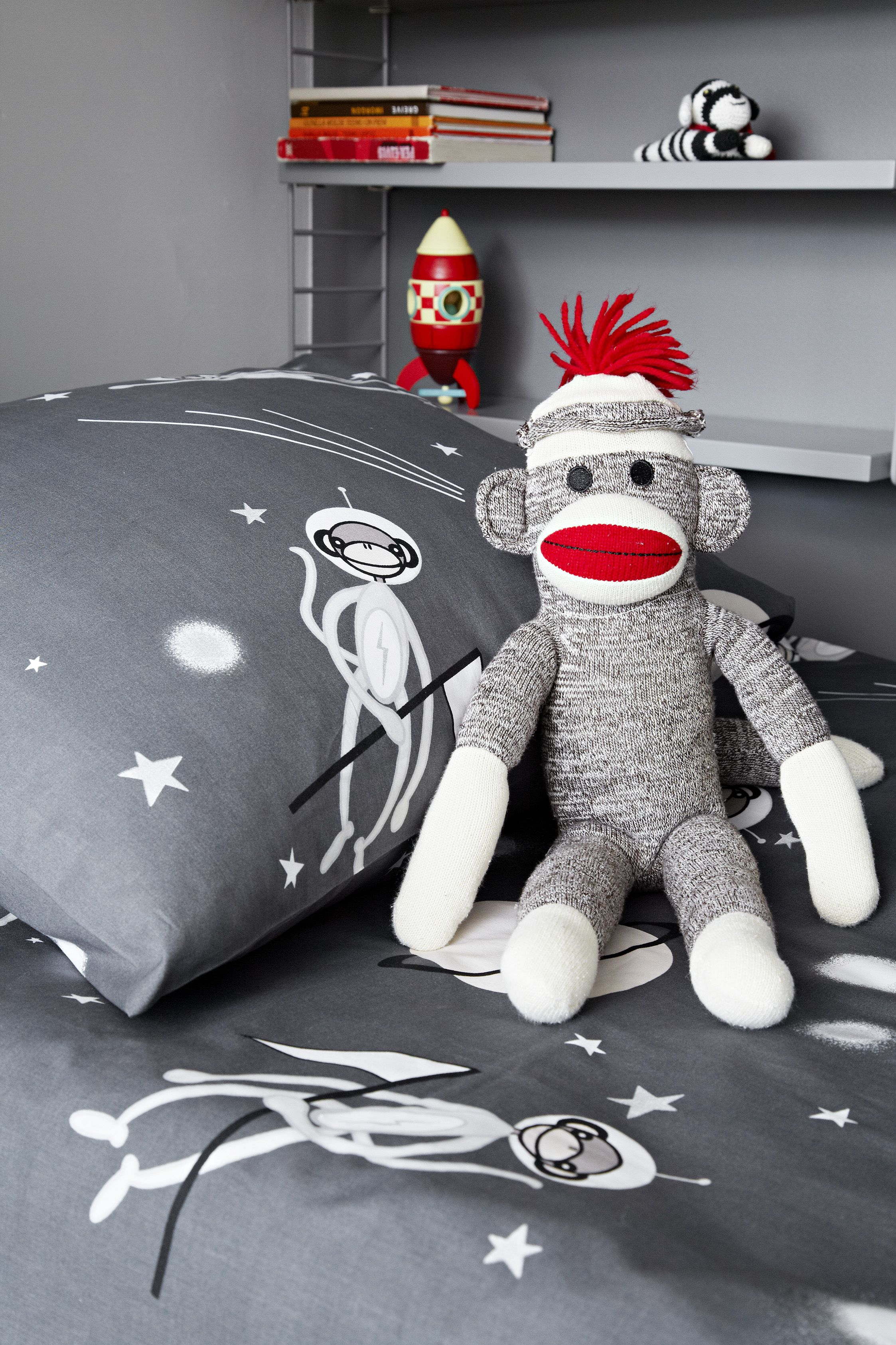 Space sock monkey bed linens