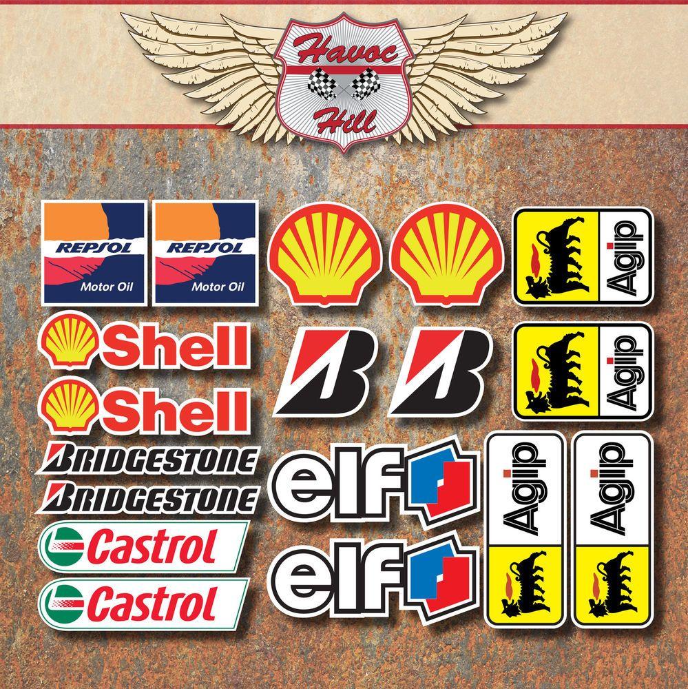 Motorbike Race Laminated Sticker Set Elf Shell Repsol Bridgestone Castrol Agip Sticker Set Stickers Motorbikes