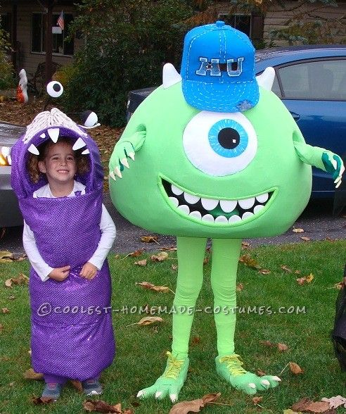 0e46a9e40686 Cool Homemade Mike Wazowski Costume with Little Sister Boo... This website  is the Pinterest of costumes