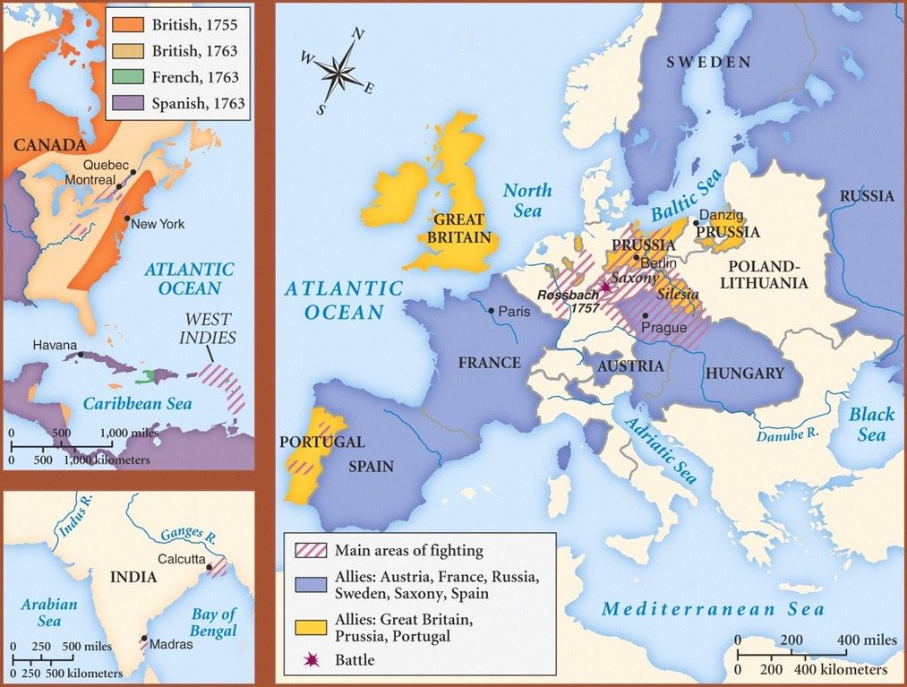 seven years war map europe Map Of The Theaters And Belligerents Of The Seven Years War