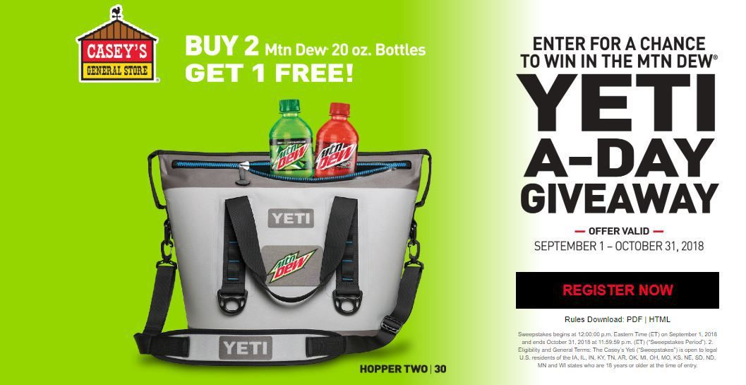Enter Mountain Dew Casey's Yeti-A-Day Giveaway Sweepstakes