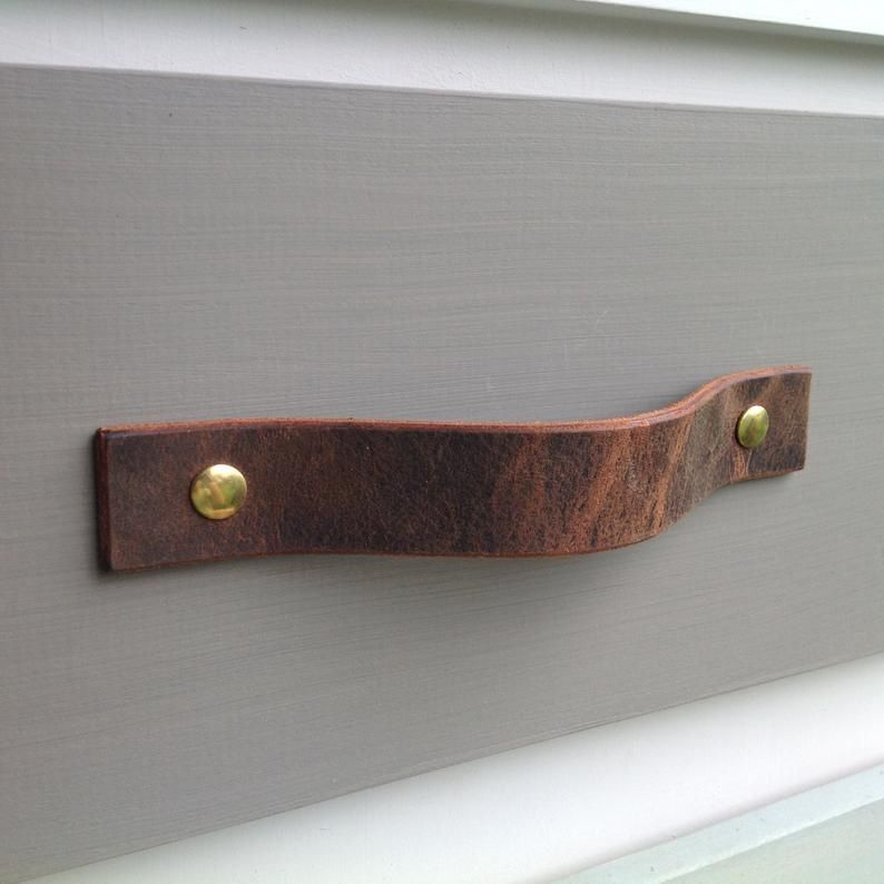 Vintage Brown Leather Drawer Pull For Furniture Doors Boxes