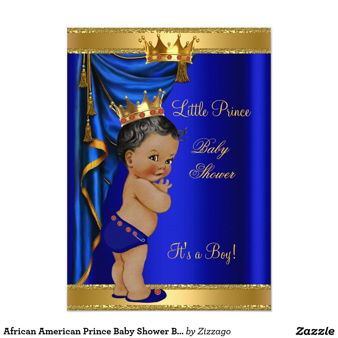 African American Prince Baby Shower Blue Gold Red Card
