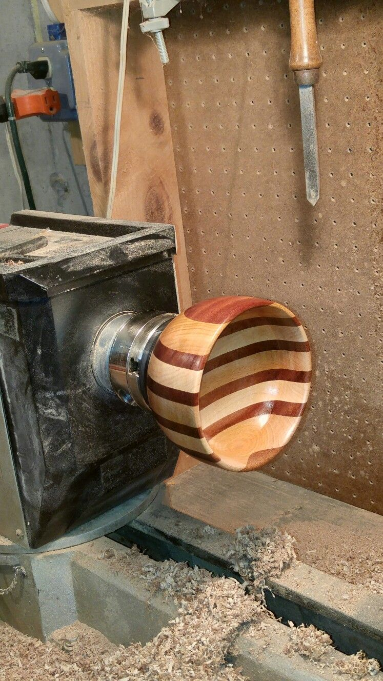 My second try at segmented turning. maple cherry and mahogany. joe