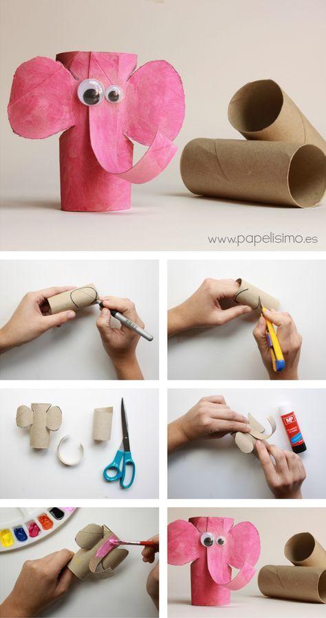 Recicla con los peques Elefante con rollos de papel higinico