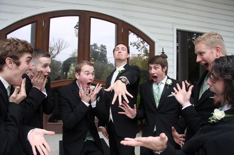 A hilarious moment between a groom & groomsmen