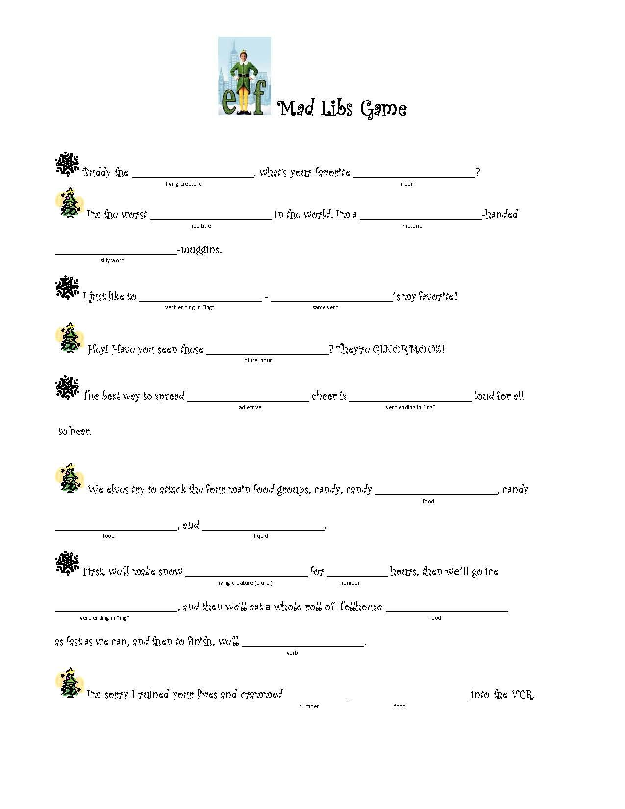 Fun Mad Libs Game I Created Using Quotes From The Buddy The Elf Movie