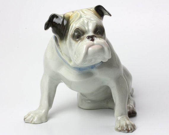 Vintage Porcelain English Bulldog Statue Figurine Quality Germany Mint
