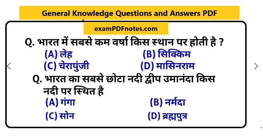 General Knowledge Questions and Answers PDF in Hindi and ...